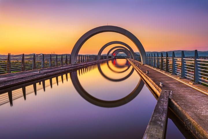 Falkirk Wheel at sunset